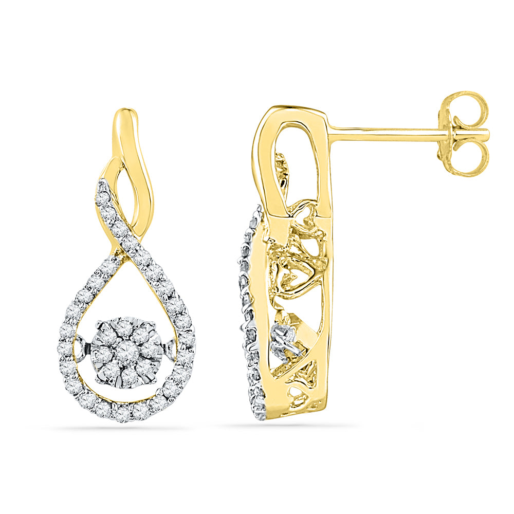 10kt Yellow Gold Womens Round Diamond Moving Cluster Earrings 1/3 Cttw
