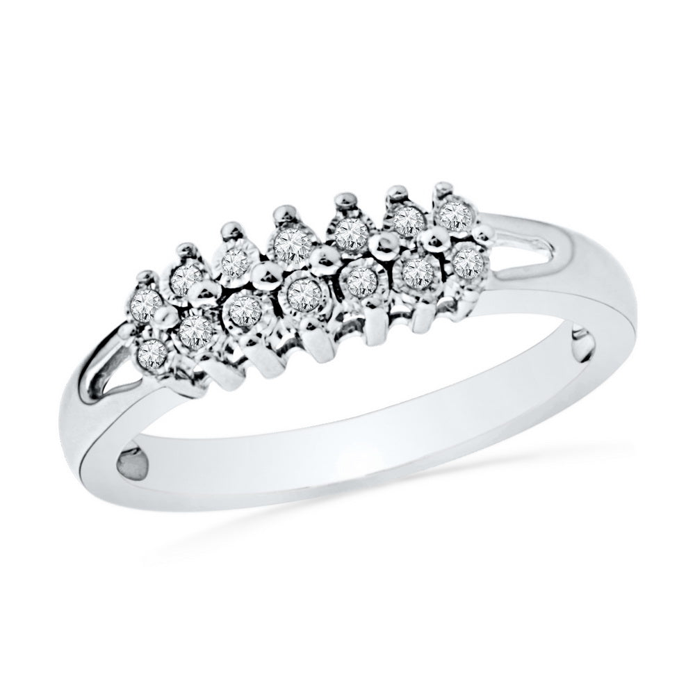 10kt White Gold Womens Round Diamond Double Row Fashion Band Ring 1/20 Cttw