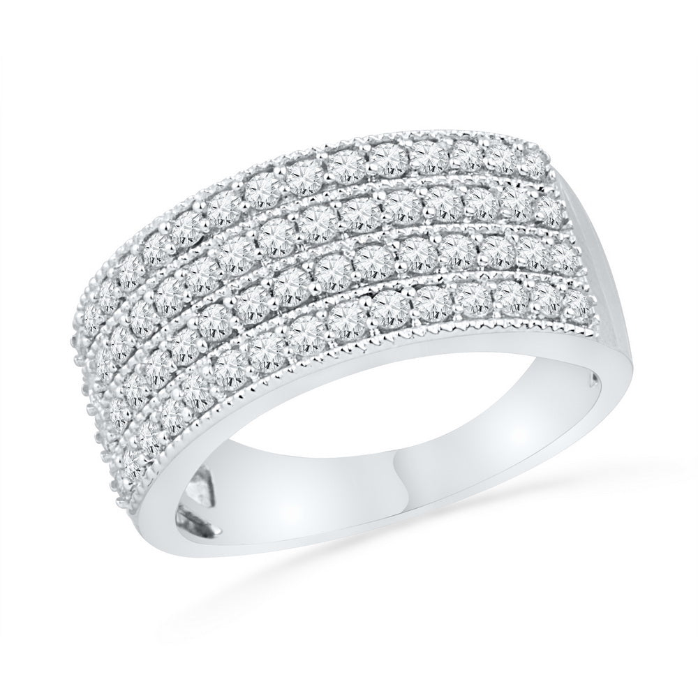 10kt White Gold Womens Round Diamond 4-Row Symmetrical Band Ring 1.00 Cttw