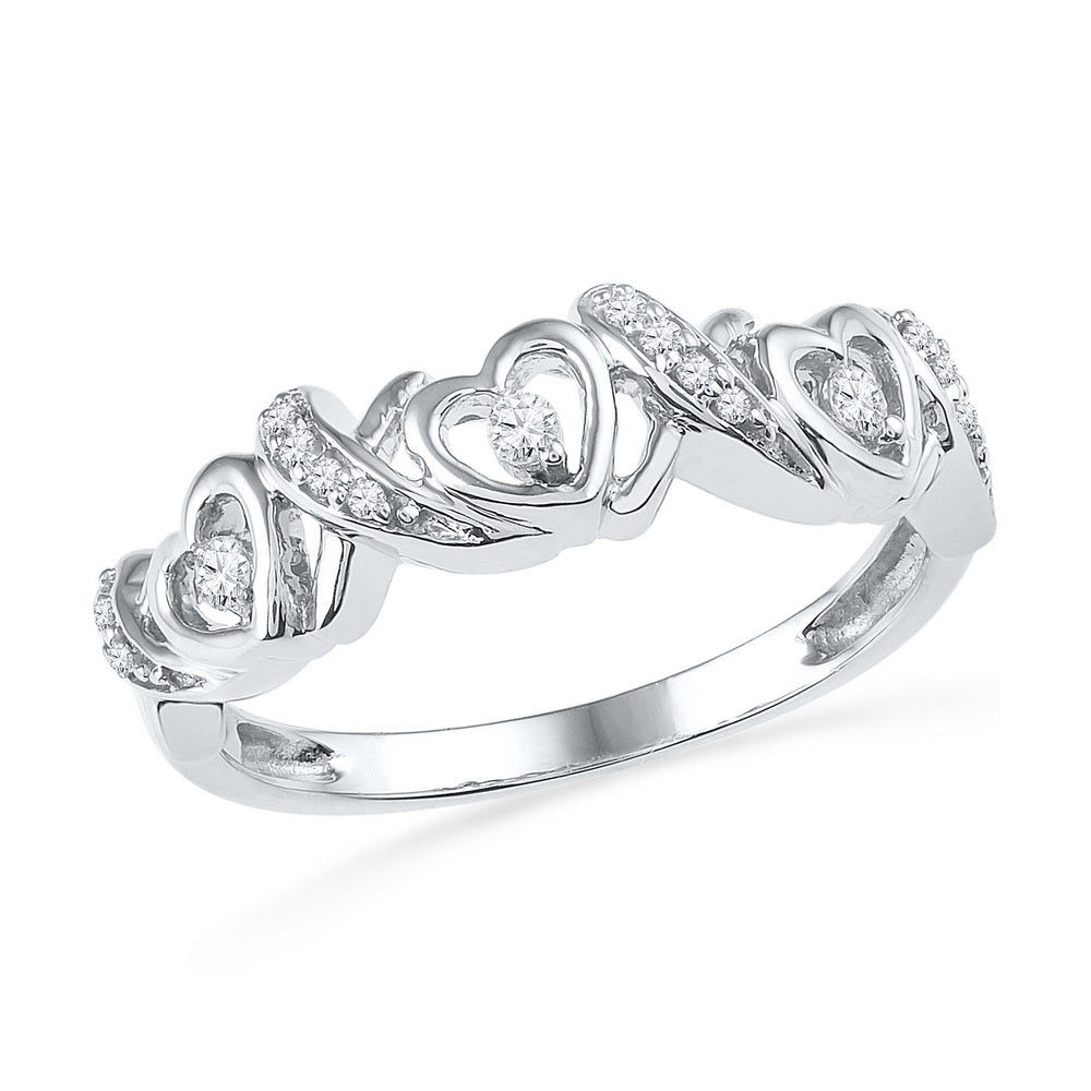 10kt White Gold Womens Round Diamond Heart Love Band Ring 1/8 Cttw
