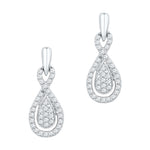 10k White Gold Womens Diamond Oval-shape Dangle Screwback Earrings 1/3 Cttw