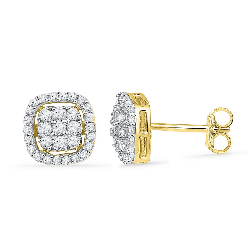 10kt Yellow Gold Womens Round Diamond Square Cluster Earrings 1/2 Cttw
