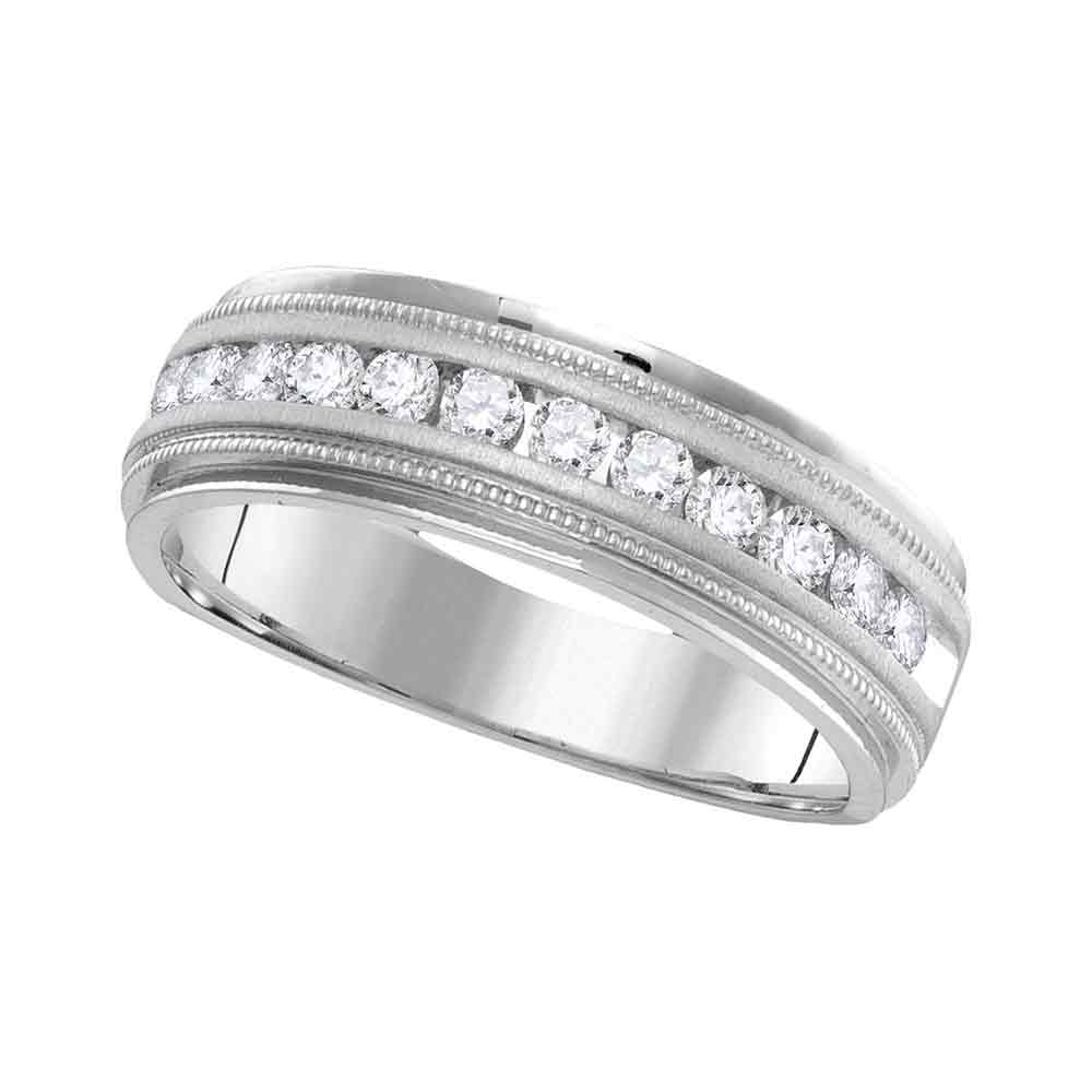14k White Gold Mens Round Diamond Comfort-fit Wedding Anniversary Band 1/4 Cttw