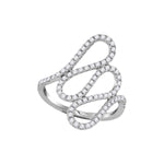 18kt White Gold Womens Round Diamond Openwork Single Row Cascading Ring 1/2 Cttw