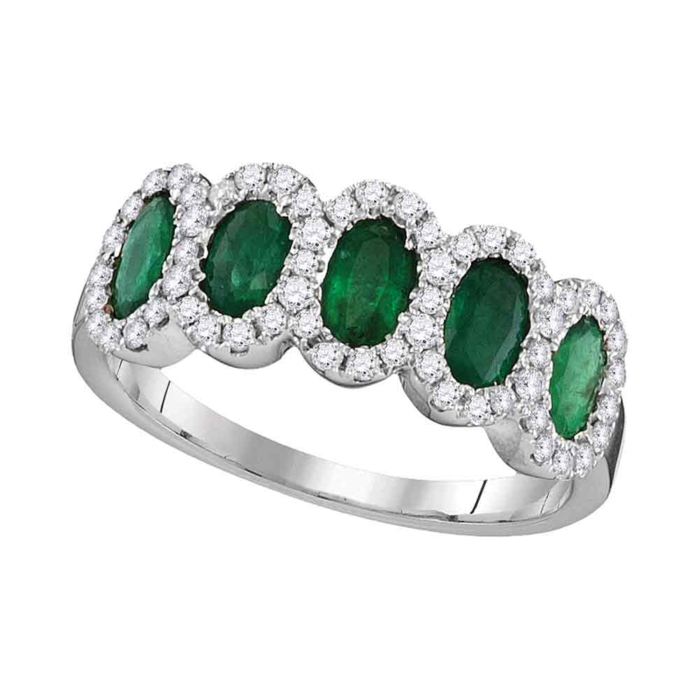 18kt White Gold Womens Diamond Frame Oval Emerald Band Ring 1-3/8 Cttw