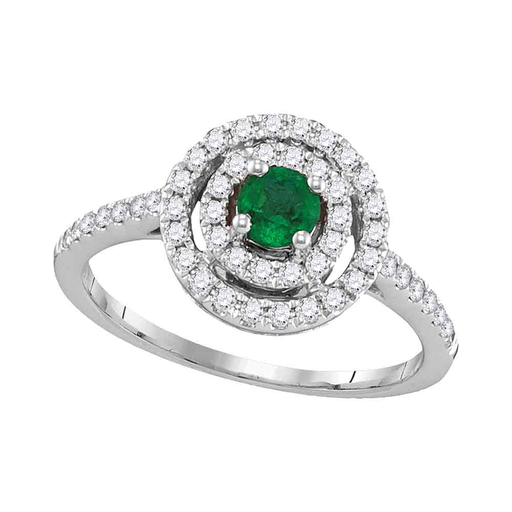 18kt White Gold Womens Round Emerald Solitaire Concentric Circle Frame Ring 5/8 Cttw