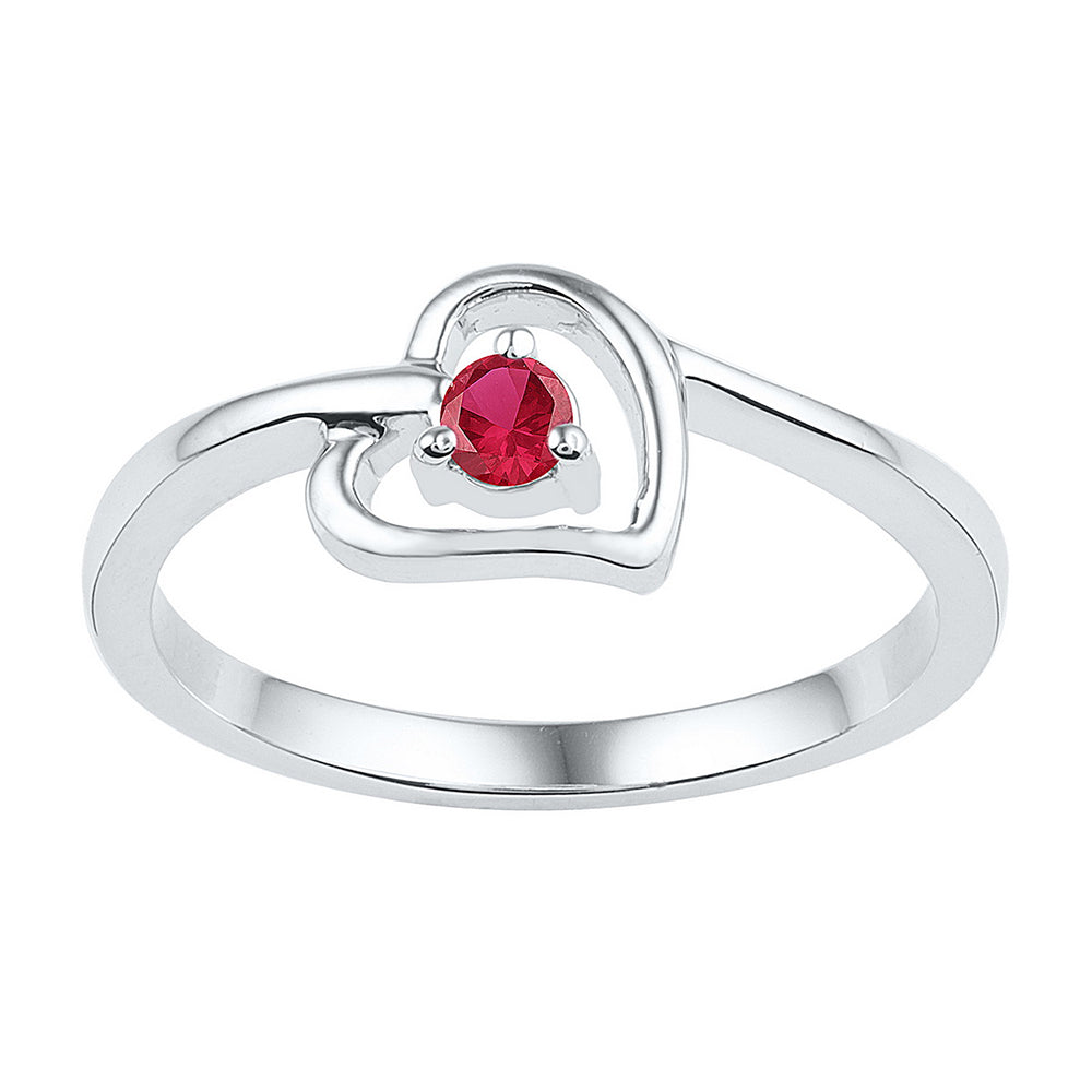 Sterling Silver Womens Round Lab-Created Ruby Solitaire Heart Ring 1/5 Cttw