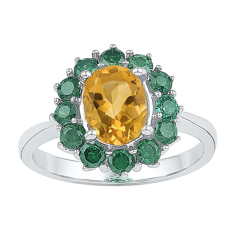 Sterling Silver Womens Oval Lab-Created Citrine Solitaire Emerald Ring 2.00 Cttw