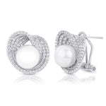 Women's Stunning Simulated Pearl CZ Earrings 0.70 CT White Gold Plated Design