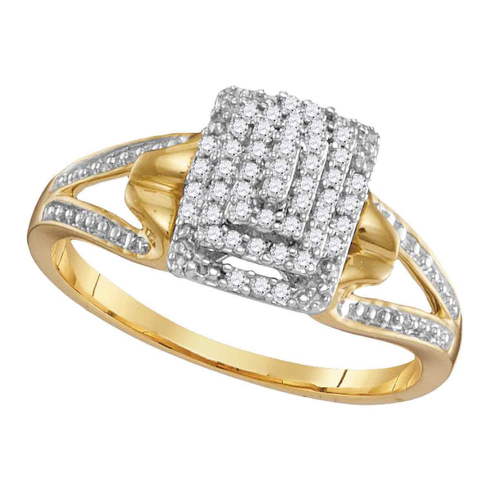 10kt Yellow Gold Womens Round Diamond Cluster Split-shank Ring 1/6 Cttw
