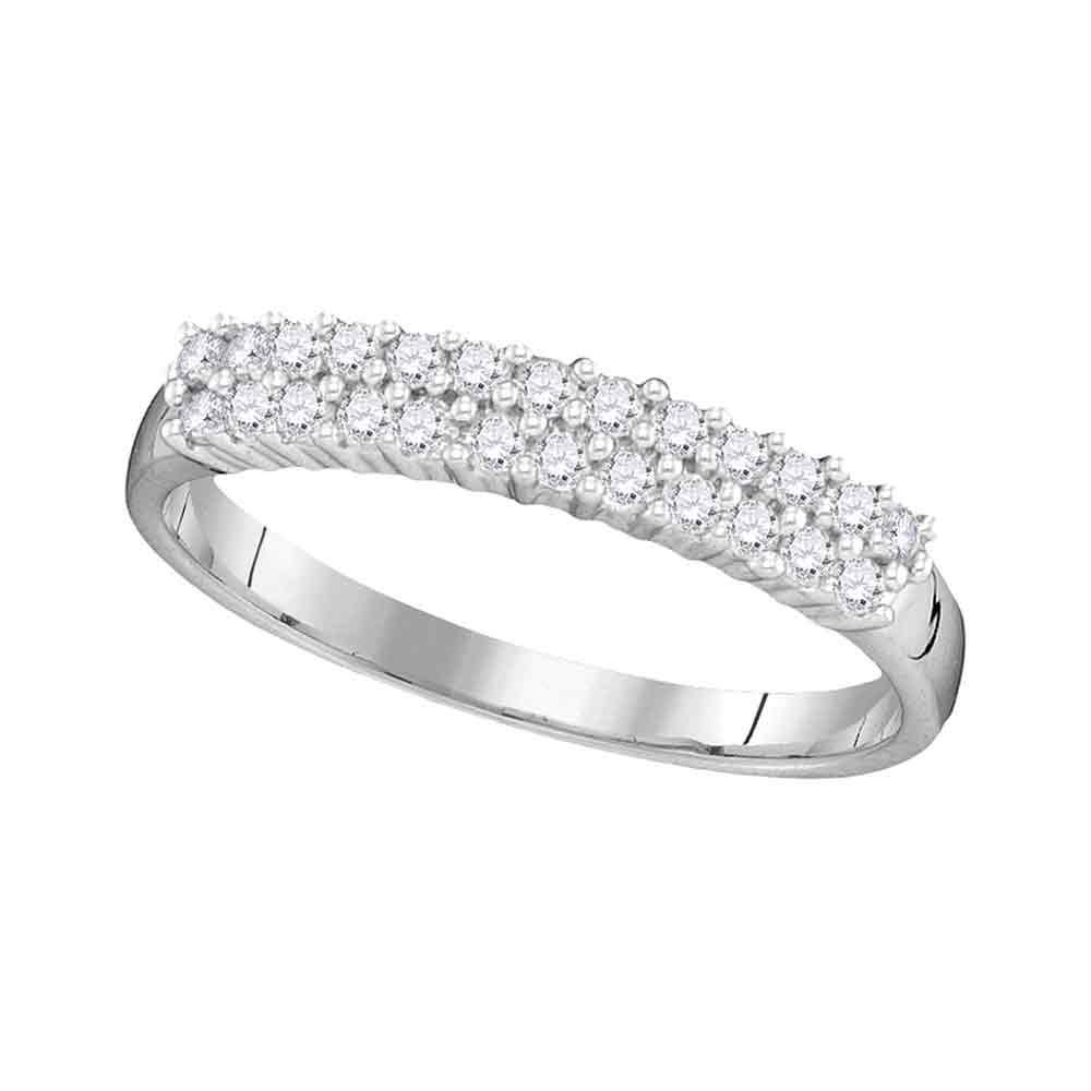 10kt White Gold Womens Round Prong-set Diamond Double Row Band 1/3 Cttw