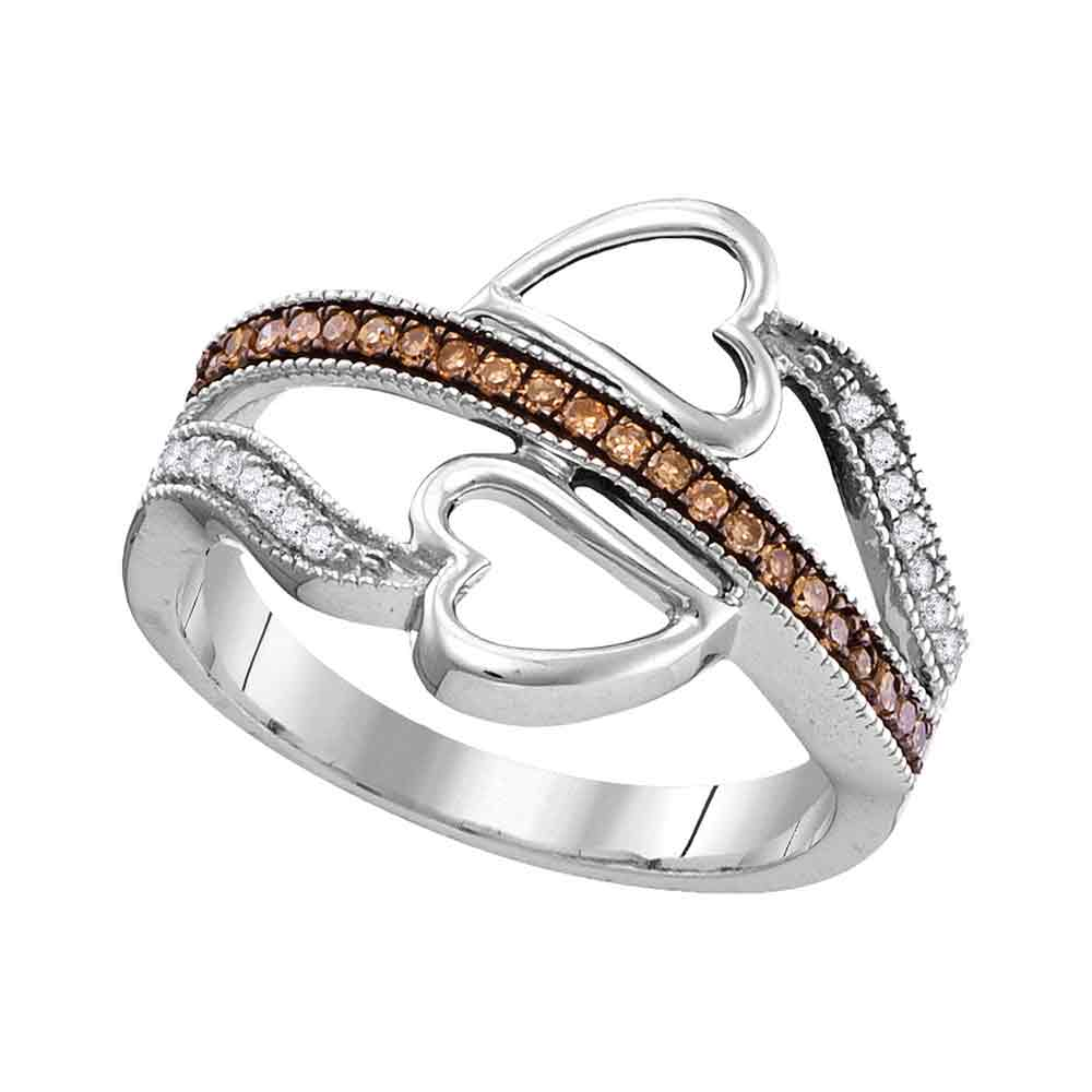 10kt White Gold Womens Round Cognac-brown Color Enhanced Diamond Heart Crossover Ring 1/5 Cttw