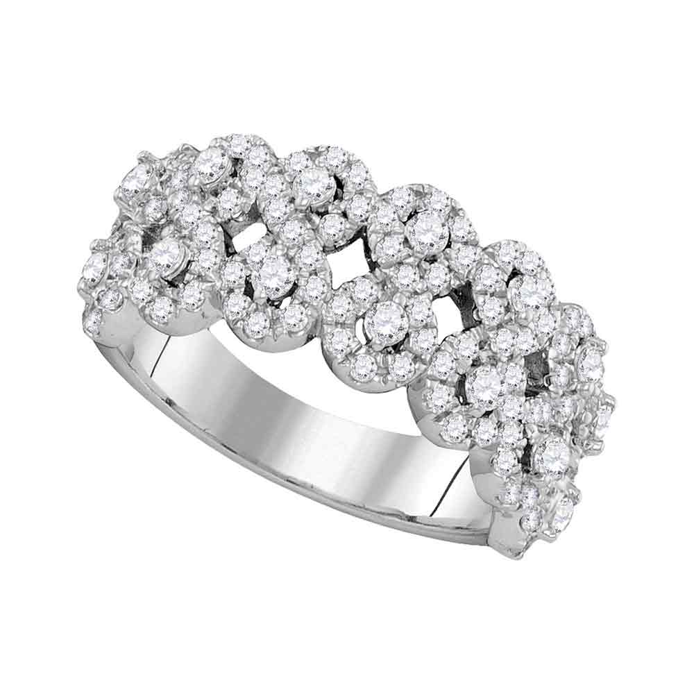 14kt White Gold Womens Round Diamond Double Row Circle Cluster Band 1-1/3 Cttw