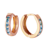 1.2 CTW 14K Solid Rose Gold Hoop Huggie Earrings Blue Topaz