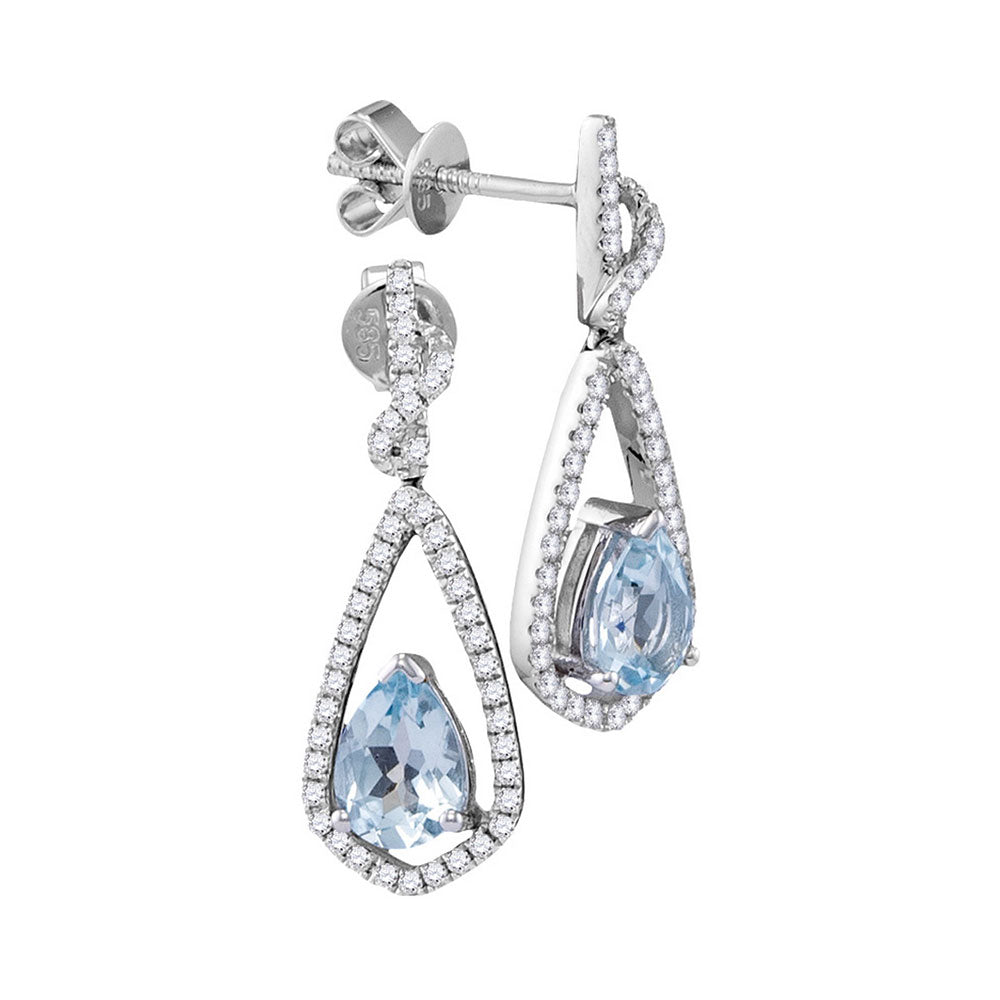 14kt White Gold Womens Pear Natural Aquamarine Diamond Dangle Earrings 1/3 Cttw