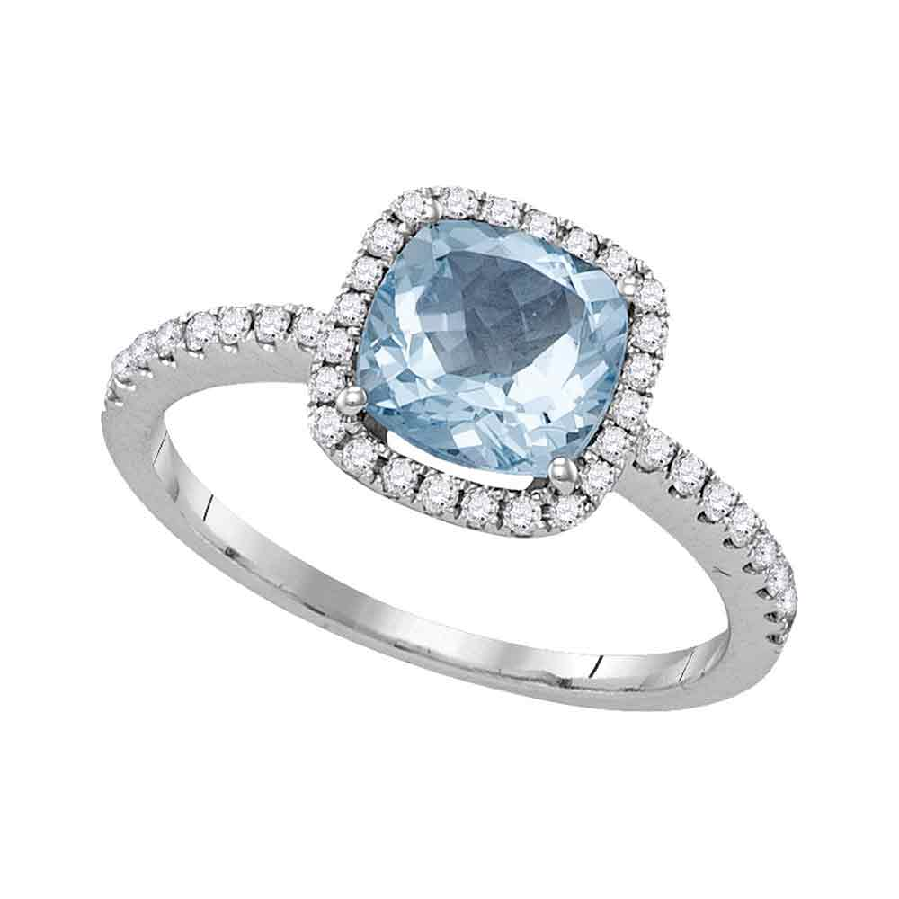 14kt White Gold Womens Princess Aquamarine Solitaire Diamond Square Frame Ring 1-1/2 Cttw