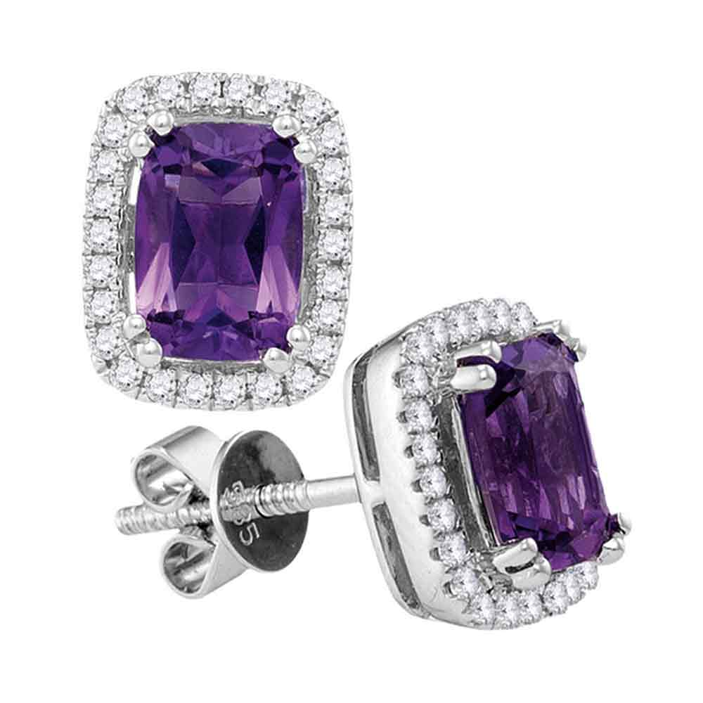 14kt White Gold Womens Oval Natural Amethyst Diamond Stud Earrings 1-7/8 Cttw
