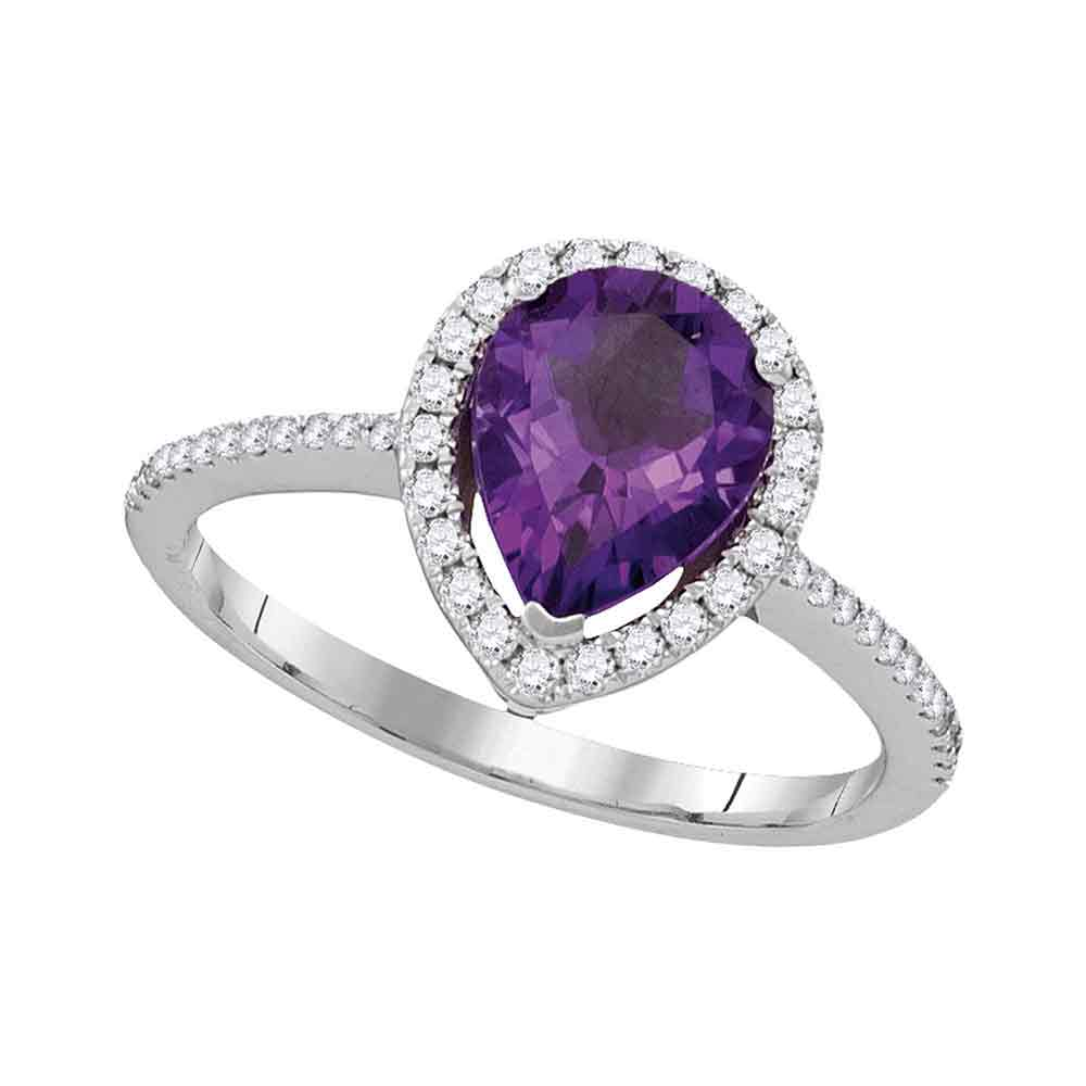 14kt White Gold Womens Pear Amethyst Solitaire Diamond Accent Ring 1-1/2 Cttw