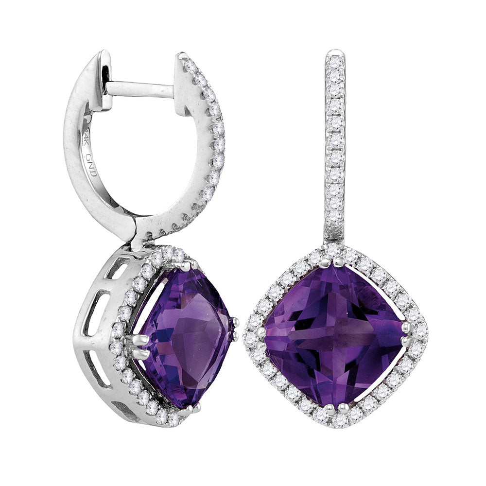 14kt White Gold Womens Cushion Natural Amethyst Diamond Dangle Earrings 4-1/3 Cttw