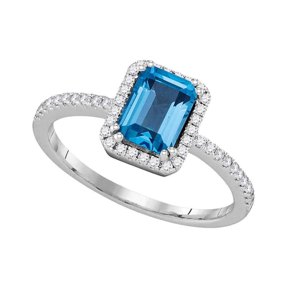 14kt White Gold Womens Emerald Blue Topaz Solitaire Diamond Accent Ring 1-3/8 Cttw