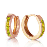 1 CTW 14K Solid Rose Gold Hoop Huggie Earrings Peridot