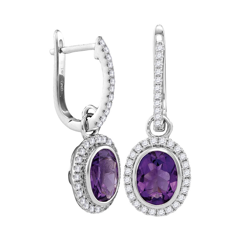 14kt White Gold Womens Round Natural Amethyst Diamond Oval Dangle Earrings 2-3/8 Cttw