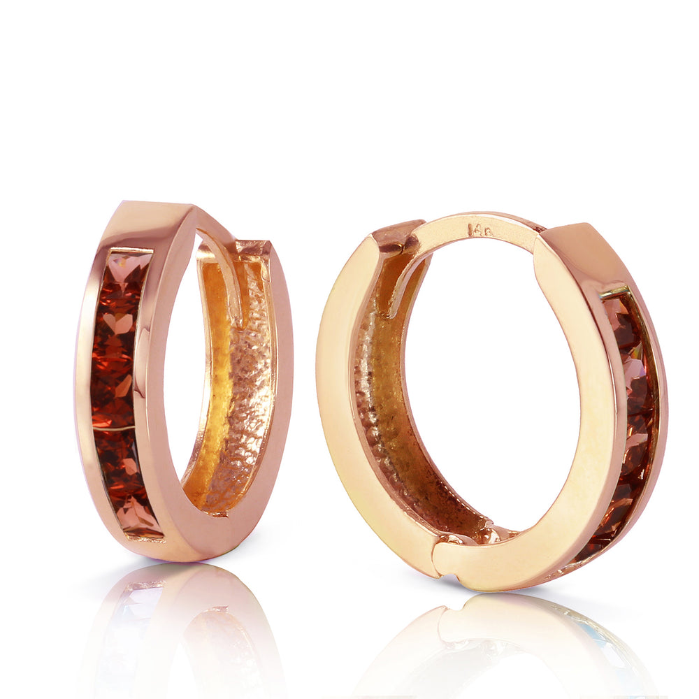 1.3 Carat 14K Solid Rose Gold Hoop Huggie Earrings Garnet
