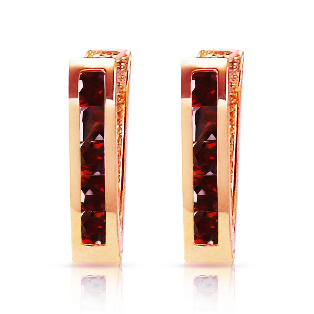 1.3 Carat 14K Solid Rose Gold Oval Huggie Earrings Garnet