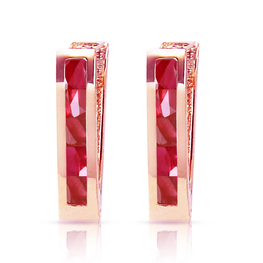 1.3 Carat 14K Solid Rose Gold Oval Huggie Earrings Ruby