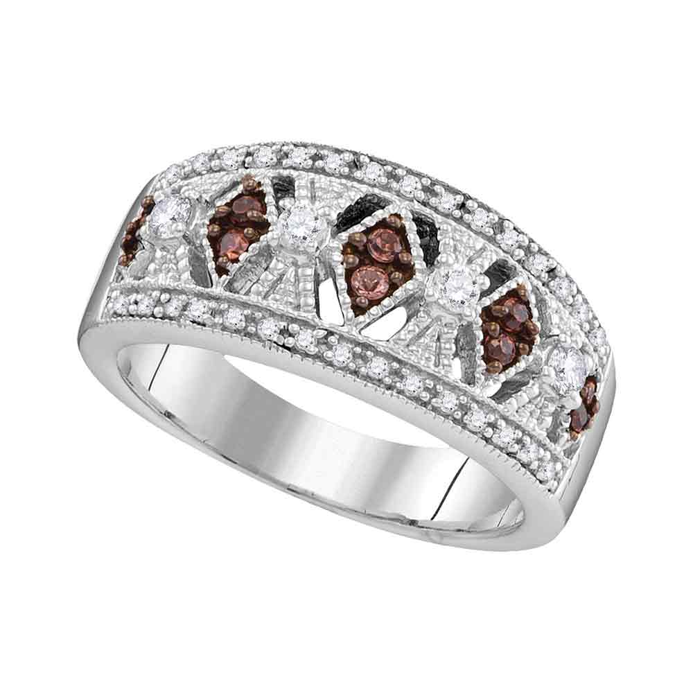 10kt White Gold Womens Round Cognac-brown Color Enhanced Diamond Milgrain Symmetrical Band Ring 1/3 Cttw
