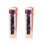 1.3 Carat 14K Solid Rose Gold Oval Huggie Earrings Sapphire
