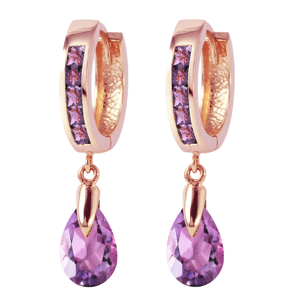 3.3 CTW 14K Solid Rose Gold Huggie Earrings Dangling Amethyst