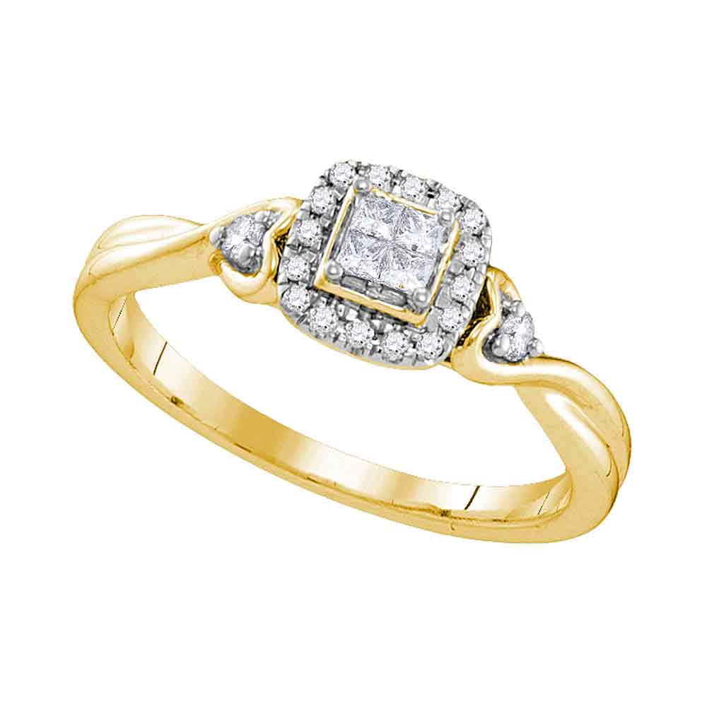10kt Yellow Gold Womens Princess Diamond Square Cluster Ring 1/5 Cttw