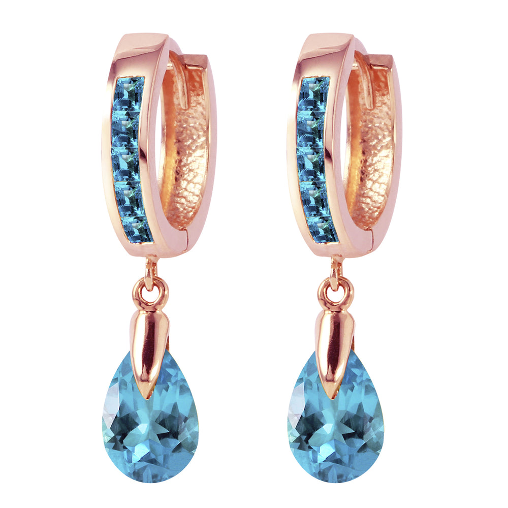 4.2 Carat 14K Solid Rose Gold Huggie Earrings Dangling Blue Topaz