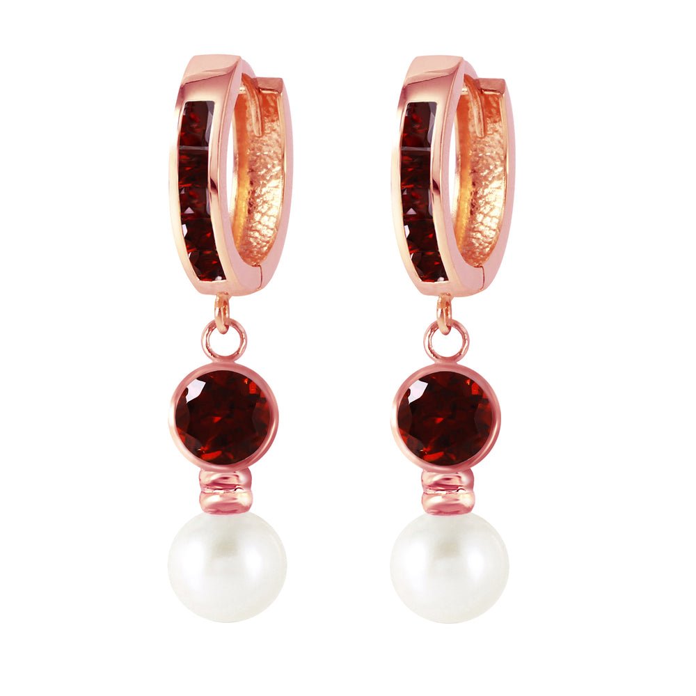 4.3 Carat 14K Solid Rose Gold Huggie Earrings pearl Garnet