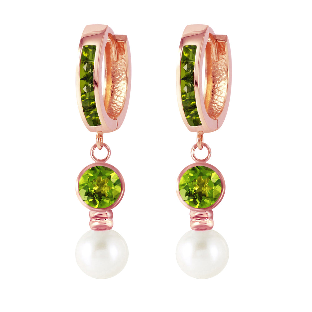 4.3 Carat 14K Solid Rose Gold Huggie Earrings pearl Peridot