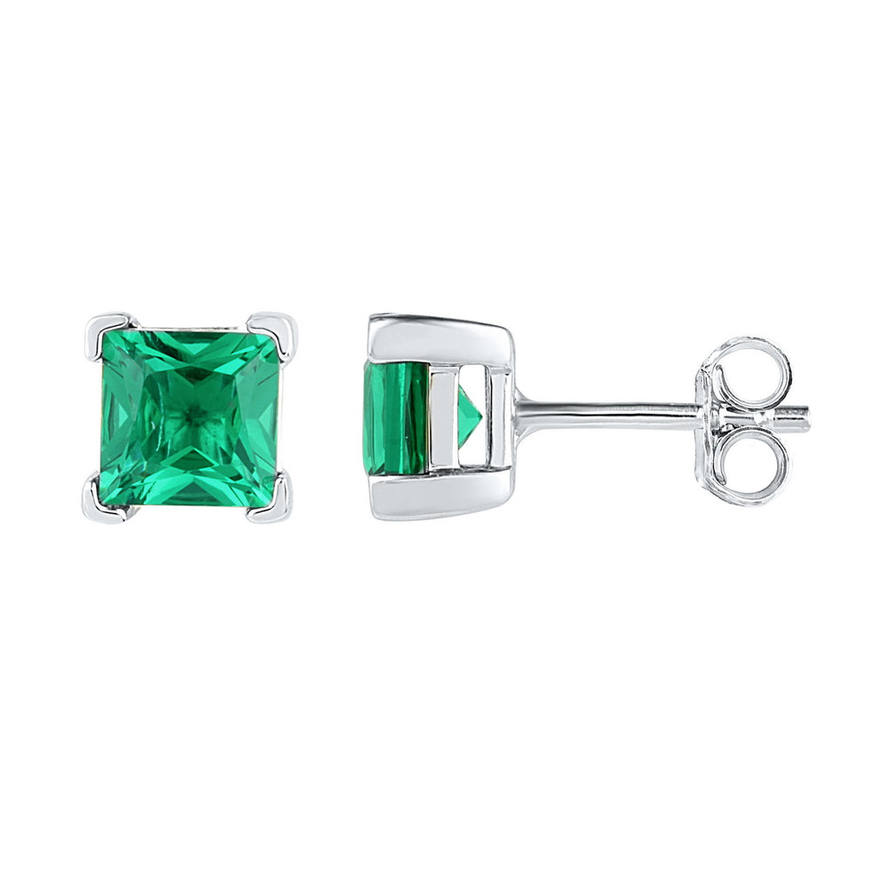 Sterling Silver Womens Princess Lab-Created Emerald Solitaire Stud Earrings 2.00 Cttw