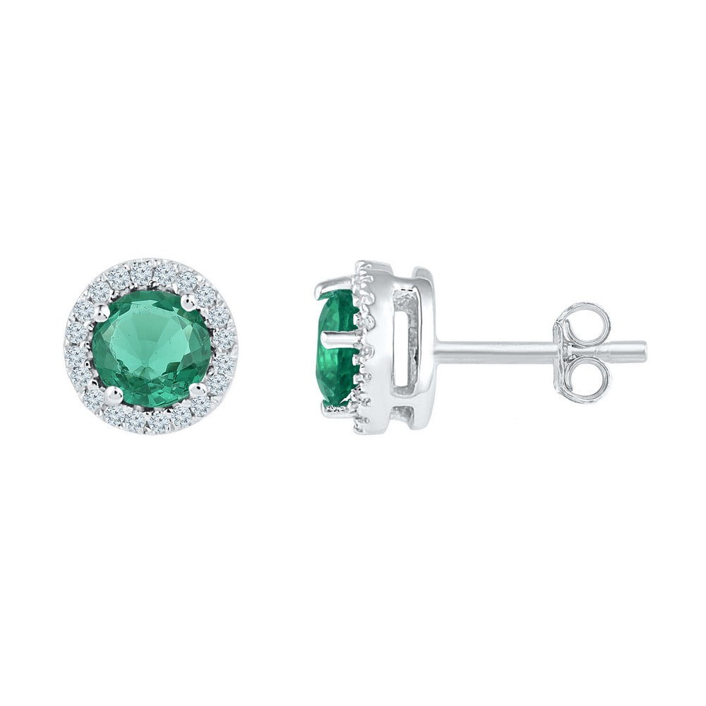 Sterling Silver Womens Round Lab-Created Emerald Solitaire Stud Earrings 1-1/6 Cttw