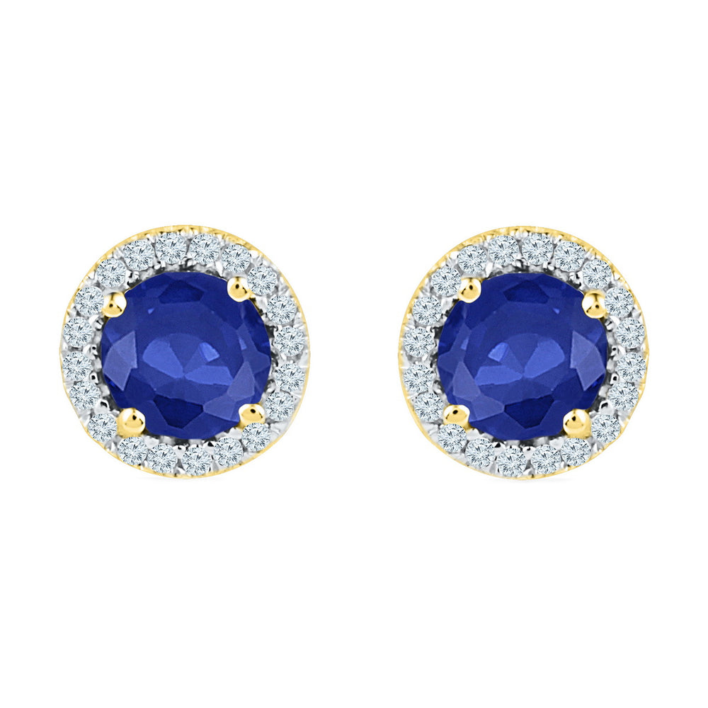 10kt Yellow Gold Womens Round Lab-Created Blue Sapphire Diamond Stud Earrings 1-1/2 Cttw