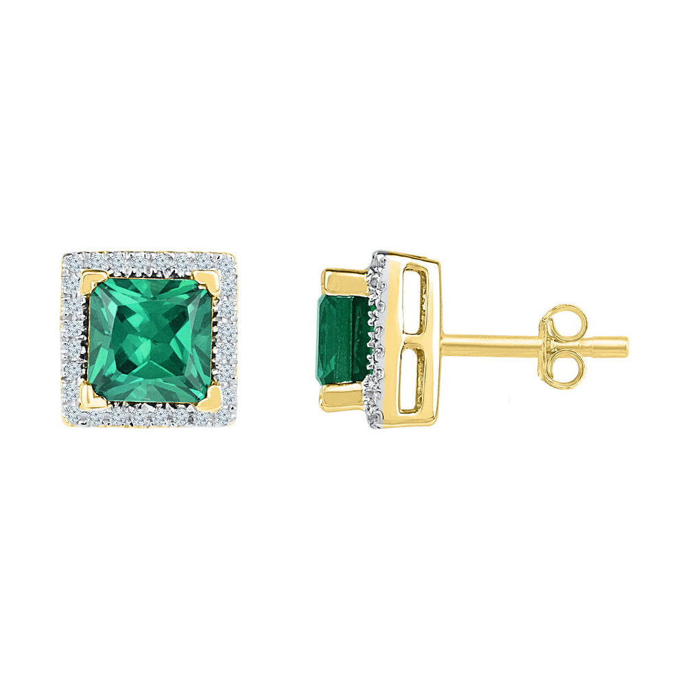 10kt Yellow Gold Womens Princess Lab-Created Emerald Solitaire Stud Earrings 1-3/4 Cttw