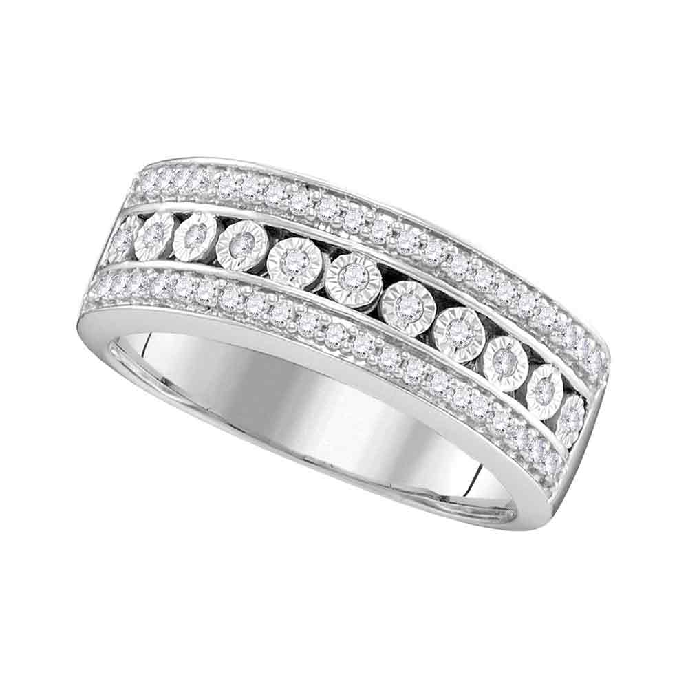 10kt White Gold Womens Round Diamond Triple Row Channel Band Ring 1/3 Cttw