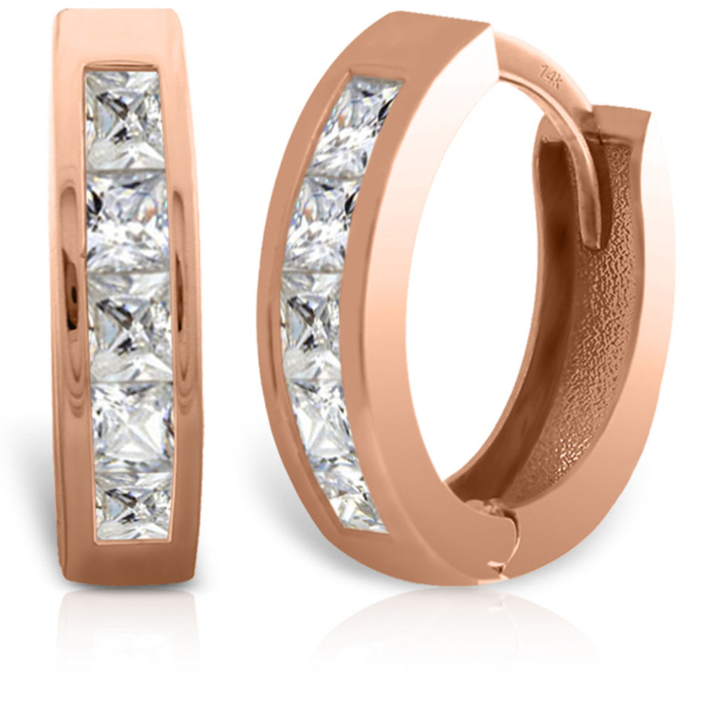 1.58 Carat 14K Solid Rose Gold Cubic Zirconia Small Hoops