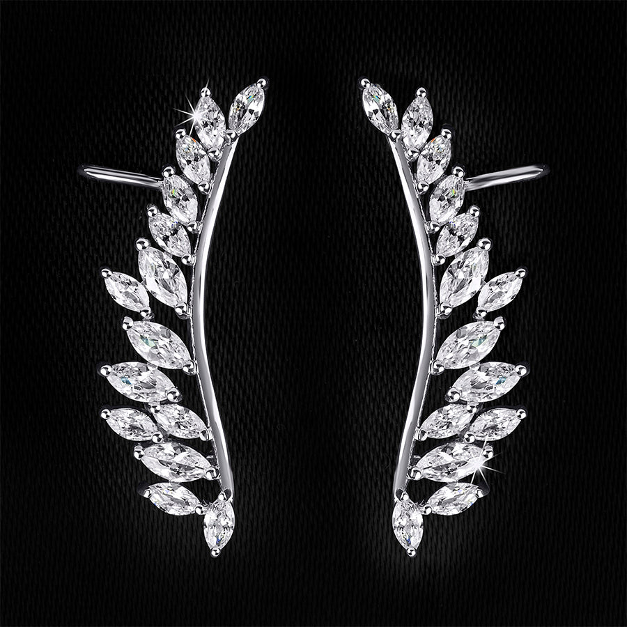 Women's Huggie Earrings Oval Cut CZ 0.65 CT White Gold Plated Bridal Accessories