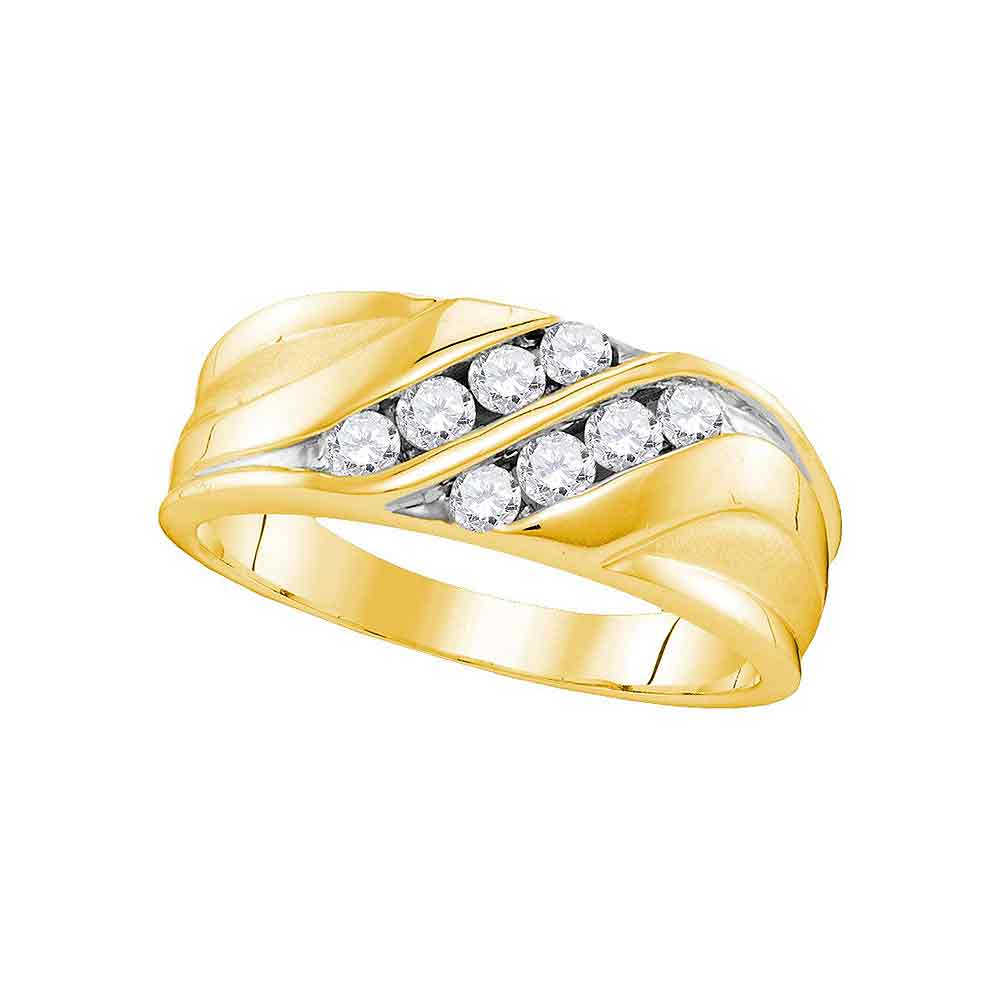 10kt Yellow Gold Mens Round Diamond Wedding Band Ring 1/2 Cttw