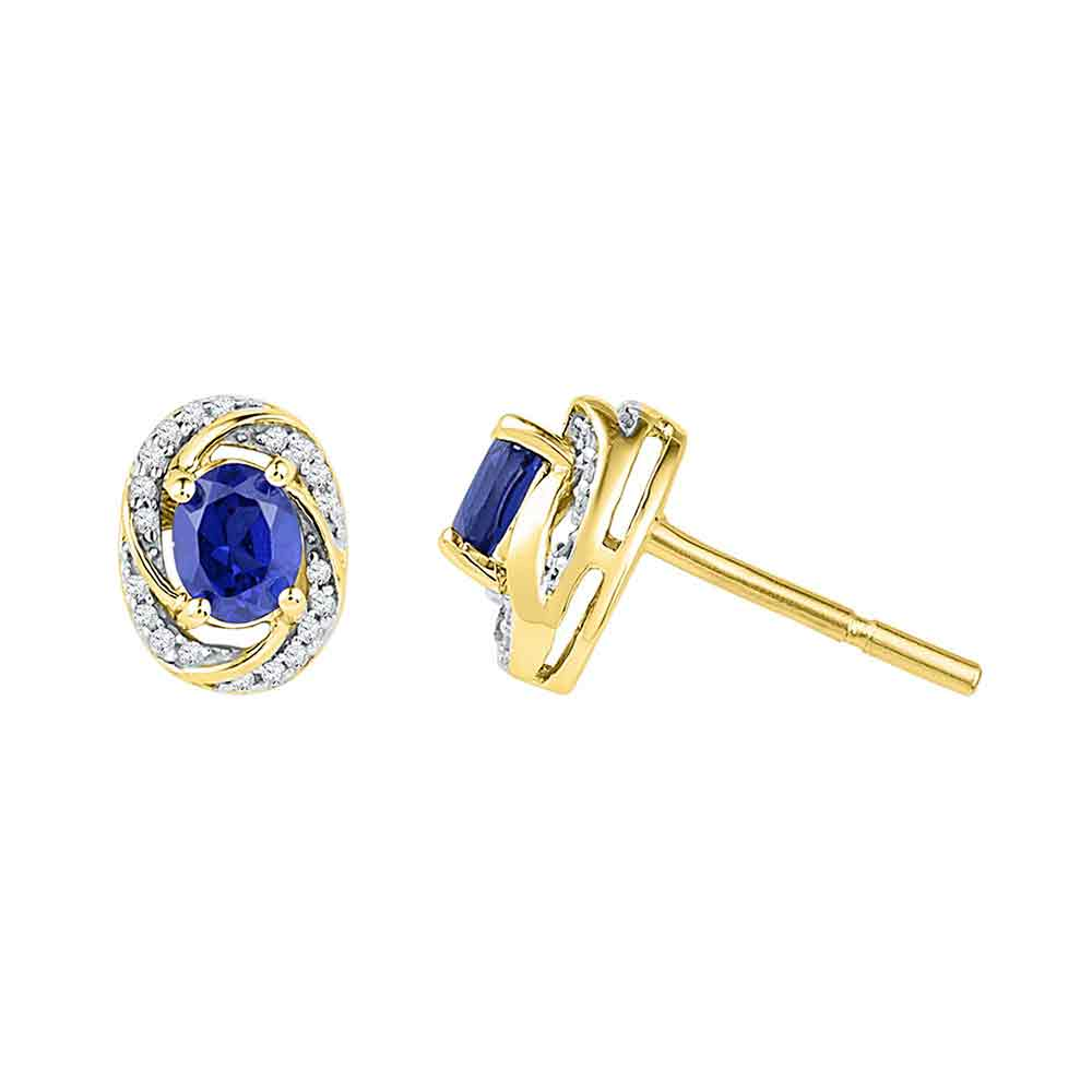 10kt Yellow Gold Womens Oval Lab-Created Blue Sapphire Diamond Stud Earrings 1/8 Cttw