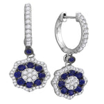 18kt White Gold Womens Round Blue Sapphire Dangle Earrings 1-1/4 Cttw
