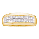14kt Yellow Gold Mens Princess Diamond Wedding Band Ring 1.00 Cttw