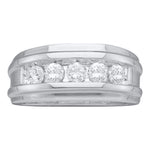 14k White Gold Round Diamond Mens Channel-set Classic 7mm Wedding Band 1/4 Cttw