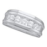 14k White Gold Round Channel-set Diamond Mens Masculine Wedding Band 1/2 Cttw