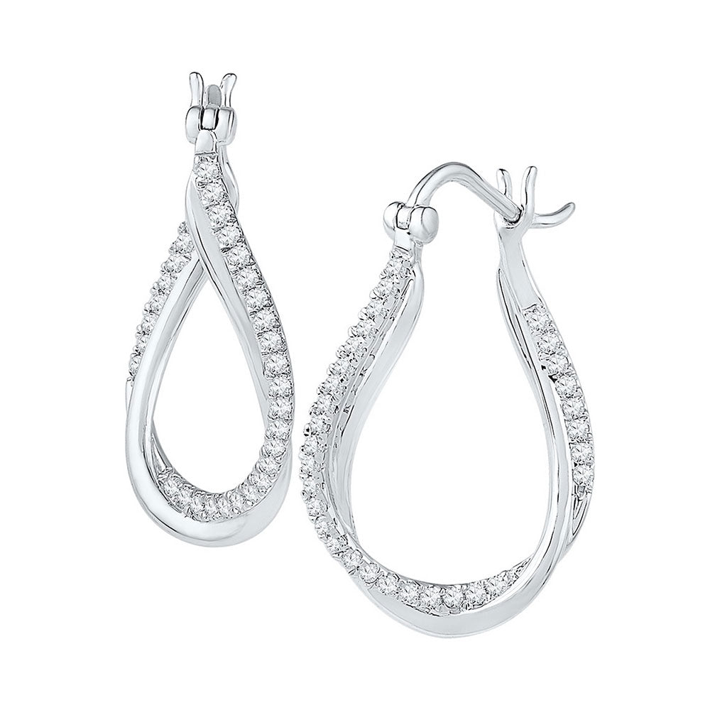 10kt White Gold Womens Round Diamond Oval Hoop Earrings 1/2 Cttw